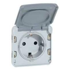 Plexo contactdoos 2P+A 16A 250V steekklem (Duitse norm) - grijs