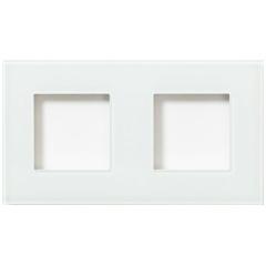Glazen dubbelvoudige afdekplaat Tastu voor Niko materiaal 45*45 Horizontaal (wit