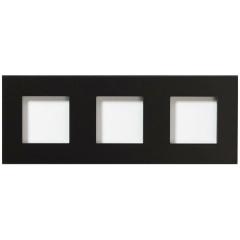 Glazen drievoudige afdekplaat Tastu voor Niko materiaal 45*45 Horizontaal (zwart